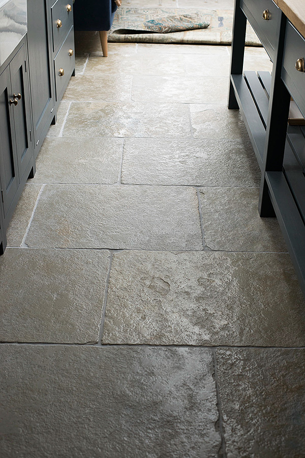 grey limestone kitchen floor