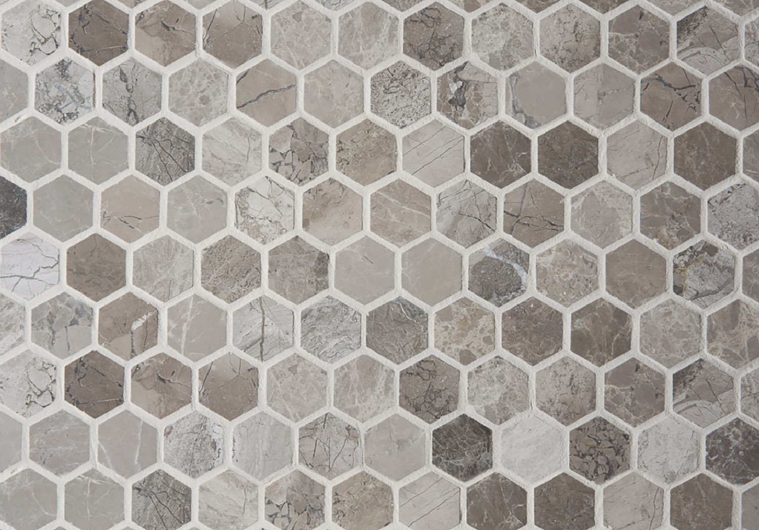 Anzer Grey Polished Marble Mosaic Tiles | Floors of Stone